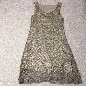 Silver and Cream/Lace and Sequin Dress